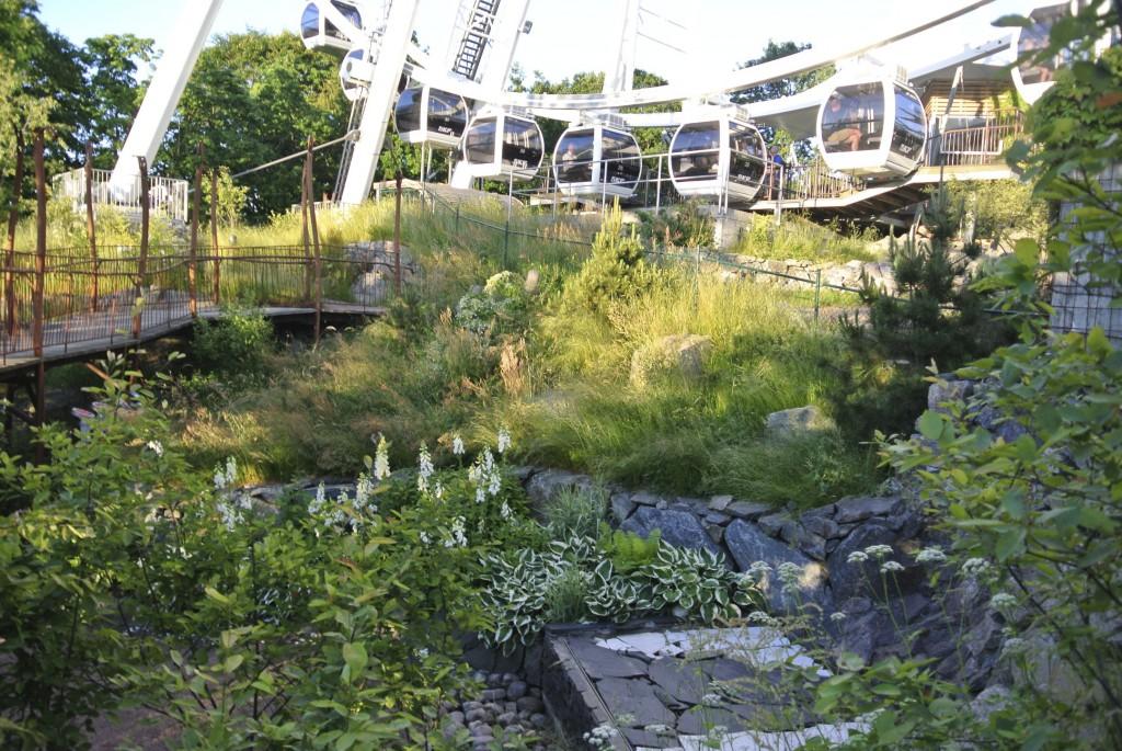 Fin utsikt över Lustgården från Pariserhjulet förenar trädgårdsnöje med åknöje!